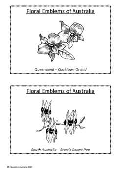 Floral Emblems of Australia - State & Territory - Black & White & Colour