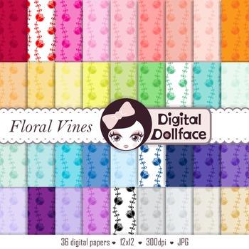 Floral, Flower Vines Digital Paper / Cute Digital Backgrounds