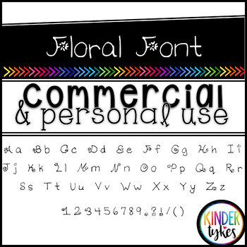 Floral Font by Kinder Tykes for Personal & Commercial Use
