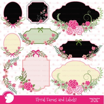 Floral Frames in Pink clipart AMB-855