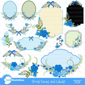 Floral Frames in Blue clipart, Frame clipart AMB-863