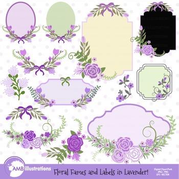 Floral Frames in Lavender clipart, Frames clipart AMB-860
