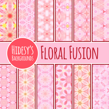 Floral Fusions Pink Digital Paper / Background / Clip Art Commercial Use