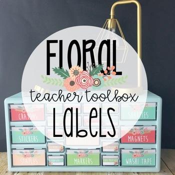 Floral Garden Teacher Toolbox Labels -Editable