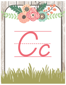 Floral Garden Themed Alphabet Posters