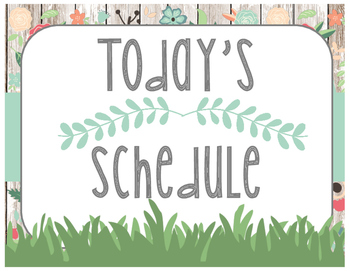 Floral Garden Themed Daily Schedule Cards