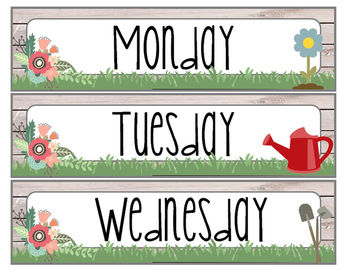 Floral Garden Themed Days of the Week