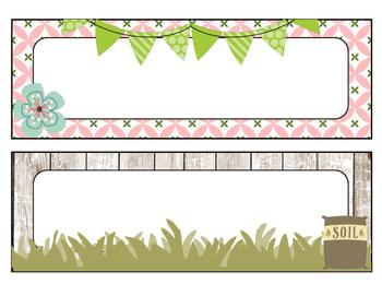 Floral Garden Themed Desk Name Tags