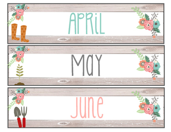 Floral Garden Themed months of the year and calendar number cards