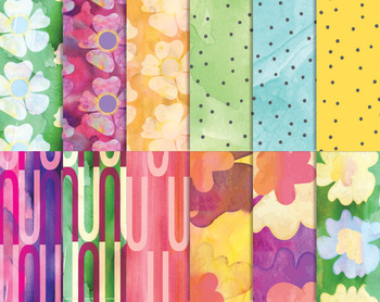 """Floral & Geometric Hand Drawn Textures, 12 x 12"""" High Resolution  PDF & PNG"""