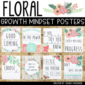 Floral Growth Mindset Posters
