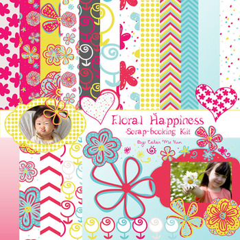 """""""Floral Happiness"""" Digital Paper and matching Clip Art"""