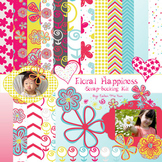 """Floral Happiness"" Digital Paper and matching Clip Art"