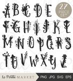 Floral Letter Silhouettes, Floral Alphabet Clip Art, Font, Letter Vectors