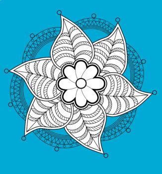 Floral Mandala - Zentangle Coloring Page