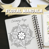 Floral Mandala - Zentangle Coloring Page