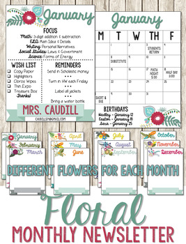 Floral Monthly Newsletter