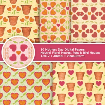 Floral Mothers Day Digital Paper, 10 Printable Floral Hearts, Pots & Bird Houses