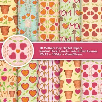 Floral Mothers Day Digital Paper, 10 Printable Floral Hear