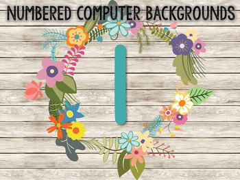 Floral Numbered Student Computer Backgrounds 1-20