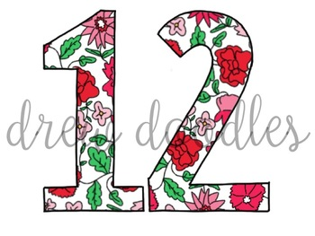 Liberty of London Inspired Floral Numbers Digital Clip Art Set