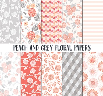 Floral Pattern Paper, Peach and Grey Paper, Spring background papers