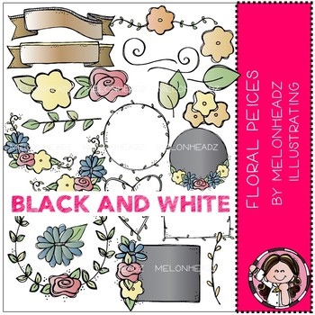 Floral Pieces clip art - BLACK AND WHITE - by Melonheadz
