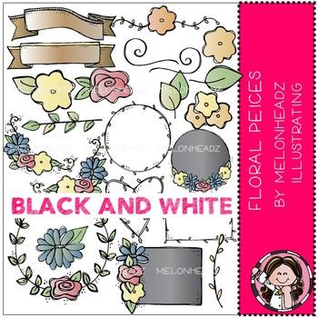 Floral Pieces clip art - BLACK AND WHITE - Melonheadz Clipart
