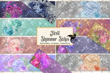 Floral Shimmer Strips Clipart, glitter rustic wedding diamond borders clip art