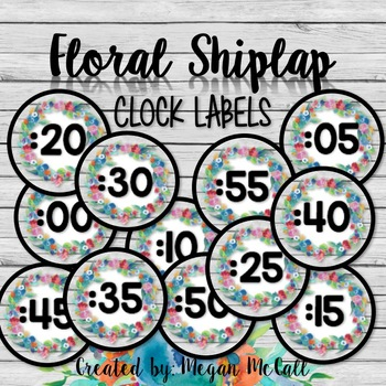 Floral Shiplap Clock Labels
