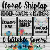 Floral Shiplap Editable Binder Covers and Dividers