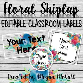 Floral Shiplap: Editable Classroom Labels