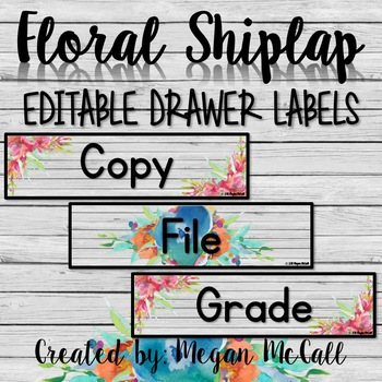 Floral Shiplap: Editable Sterilite Drawer Labels