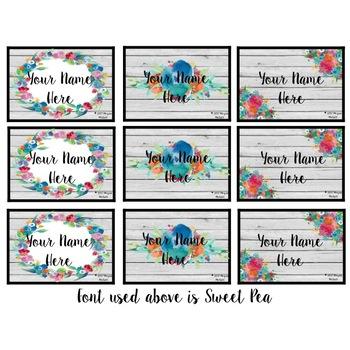 Floral Shiplap Name Plates & Name Tags