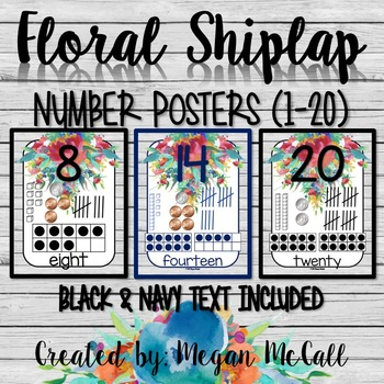 Floral Shiplap Number Form Cards 1-20 (Black & Navy Text Included)
