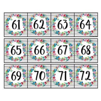 Floral Shiplap Number Line Cards (1-120)