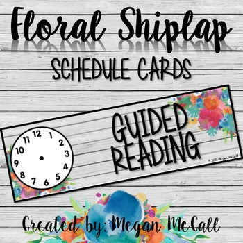 Floral Shiplap: Schedule Cards with Clock Faces