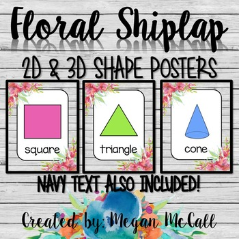 Floral Shiplap: 2D & 3D Shape Posters (Black & Navy Text Included)