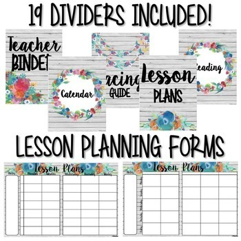 Floral Shiplap: Teacher Binder 2018-2019 With Free Yearly Udates!