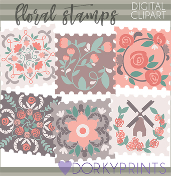 Floral Stamps Clipart