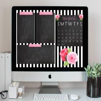 Floral Striped Desktop Organization Wallpaper + Calendar