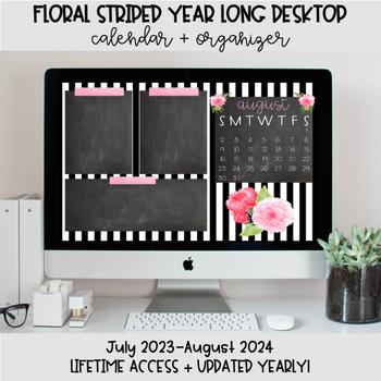 Floral Striped Desktop Organization Wallpaper Calendar
