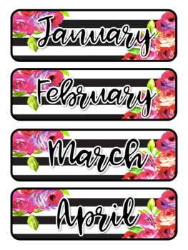 Floral & Stripes Themed Pocket Chart Subject Schedule Cards & Calendar