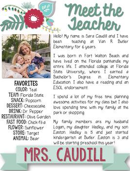 Floral Teacher Introduction Letter