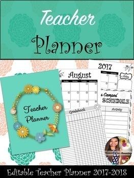 Floral Teacher Planner 2017-2018