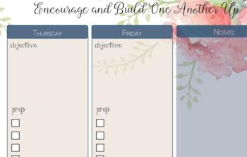 Floral Teacher Planner Pages - Middle & High School Teachers 2 Subject