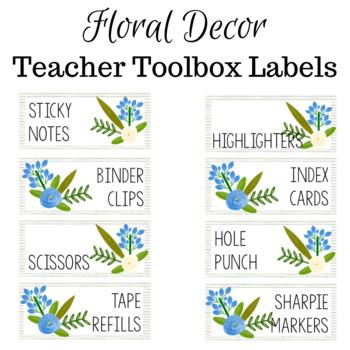 Floral Teacher Toolbox Labels (editable)