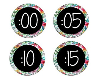 Floral Theme Clock Labels