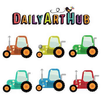 Floral Tractor Art Clip Art - Great for Art Class Projects!