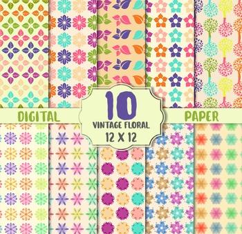 Floral Vintage Digital Paper